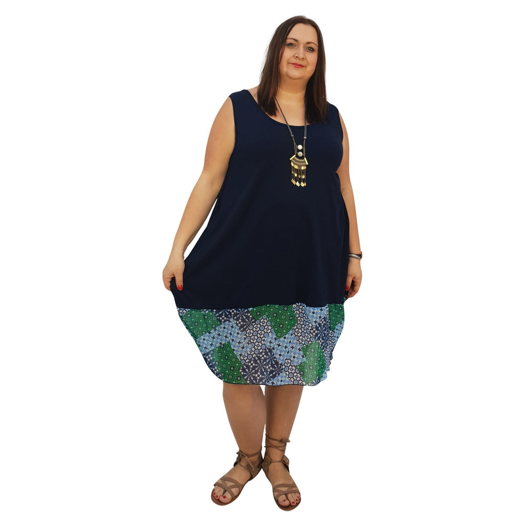 Midi Dress For Beach  Holiday Frill Floral Aztec Tribal Plus Size [L1047_NAVYCHIFFON] - size 16 18 20 22 24 26 28 30 32 34 36 38 40 42 Wolfairy