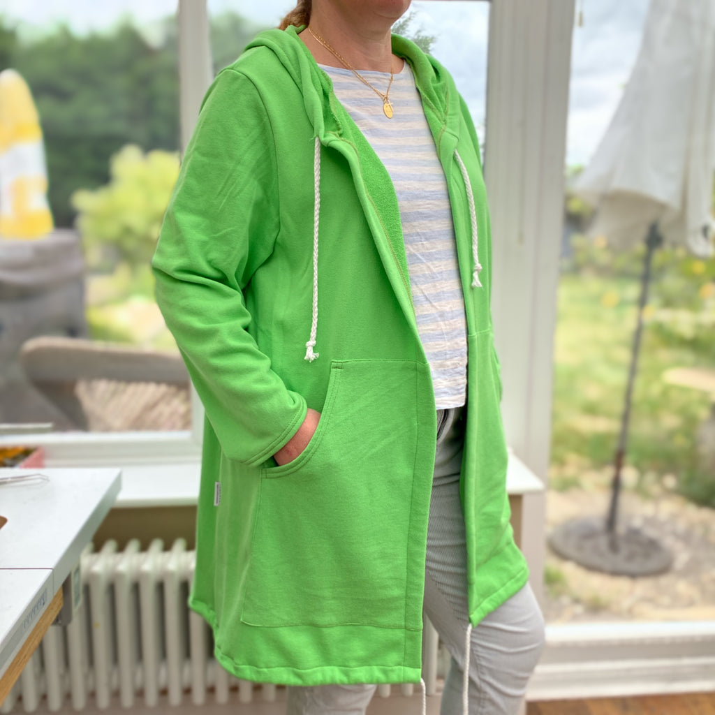 Women's Plus Size Cotton Jersey Plain Sweatshirt Cardigan Coat [L1137_NEONGREEN]