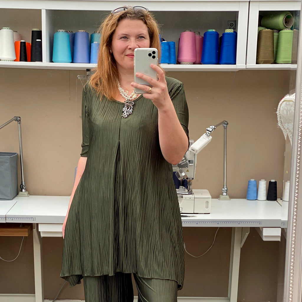 Plus Size Handkerchief Stretchy Long Top Tunic Elbow Sleeve [L1148_OLIVE]