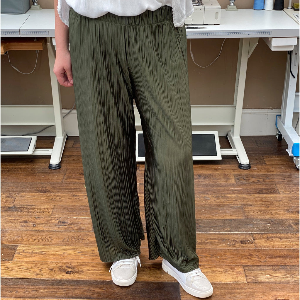 Wide Leg Pleated Jersey Pants [L1147_OLIVE]