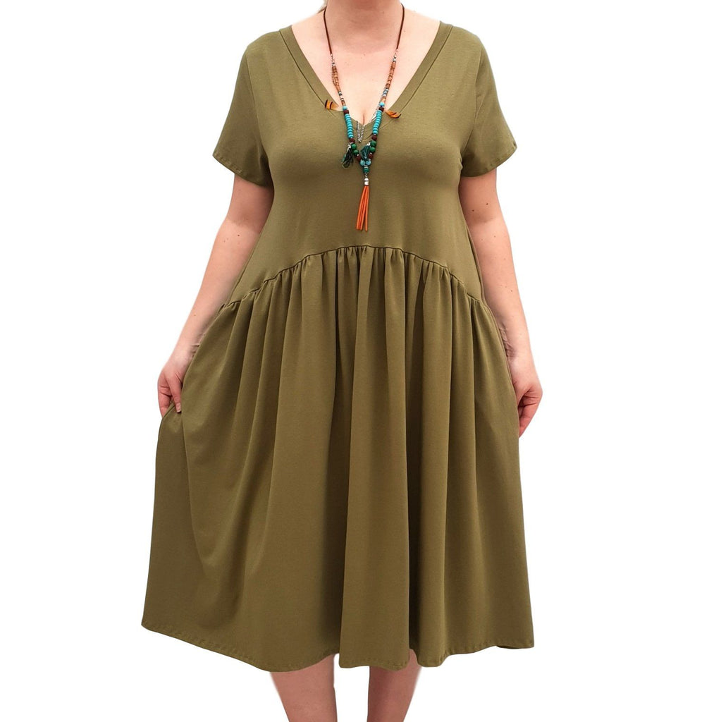 V-neck Swing Dress  Baggy  Jersey Stretchy Boho 2 Pockets Lagenlook Plus Size [L1058_OLIVE] - size 16 18 20 22 24 26 28 30 32 34 36 38 40 42 Wolfairy