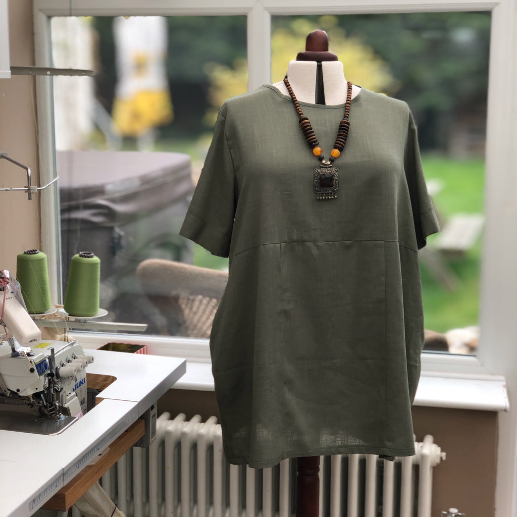 Linen Tunic Summer Top Loose Lagenlook Blouse Short Sleeve Plus Size [L1064_OLIVE]