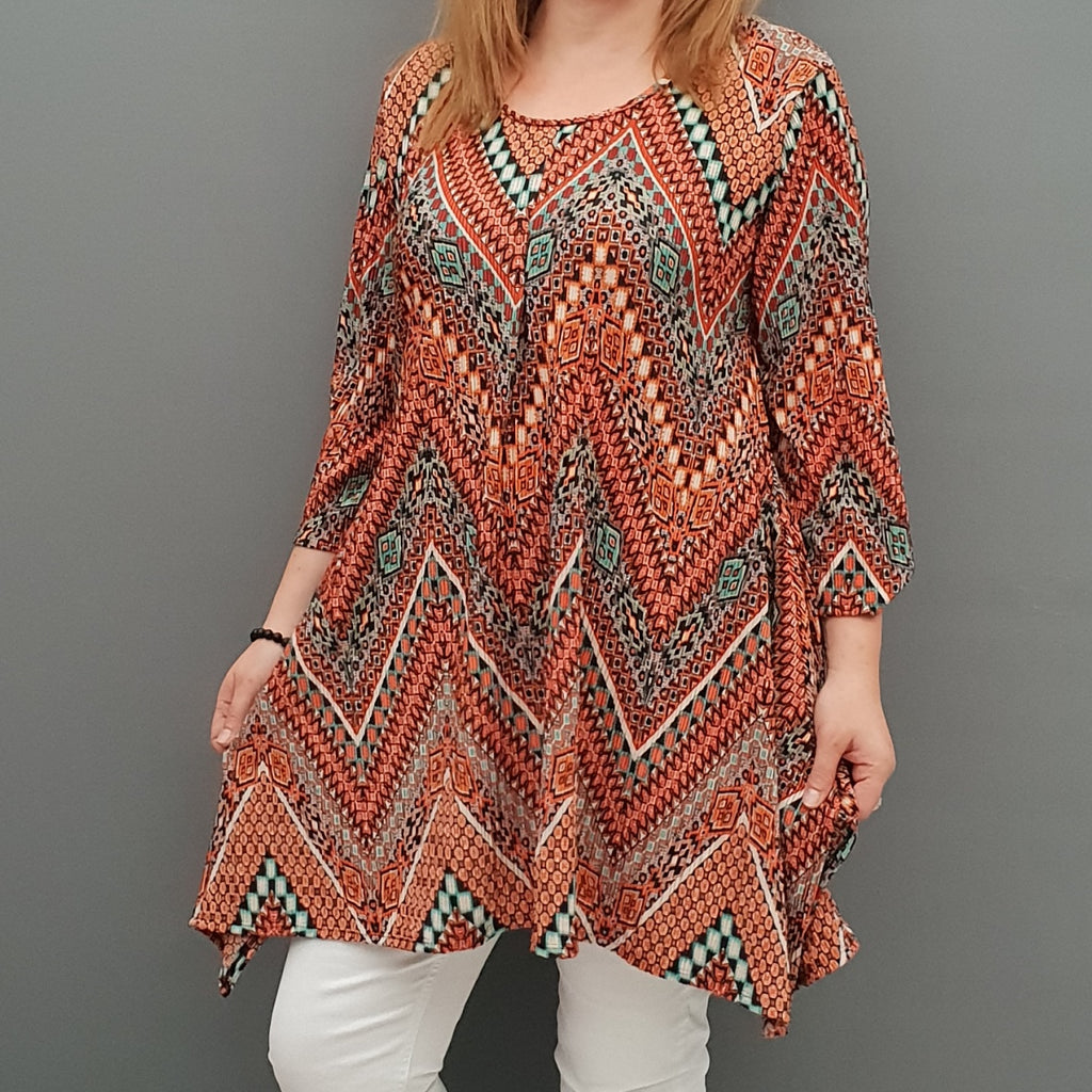Handkerchief Pleated Stretchy Long Top Tunic 3/4 Sleeve [L1085_ORANGE] - size 16 18 20 22 24 26 28 30 32 34 36 38 40 42 Wolfairy