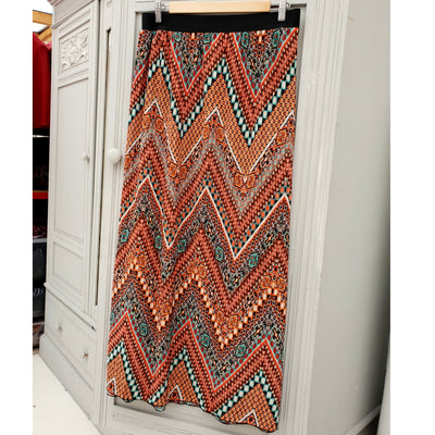 Pleated Maxi Skirt With Elasticated Waistband Plus Size [L1122_ORANGE]