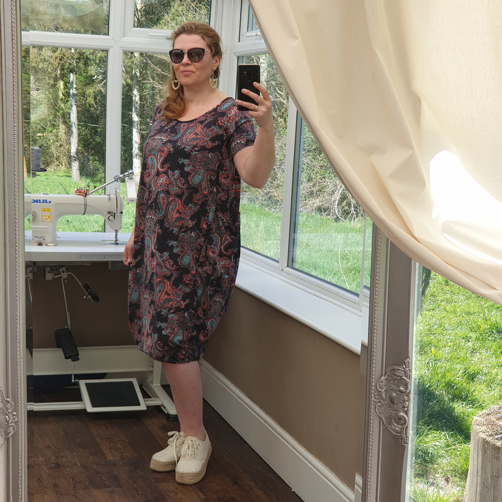Plus Size Jersey Baggy Summer Dress Tunic Short Sleeve ( elbow, 3/4 available on request) [L1255_PAISLEY1]