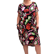 Jersey Baggy Summer Dress Tunic Short Sleeve Plus Size  [L1067_PATTERN01]