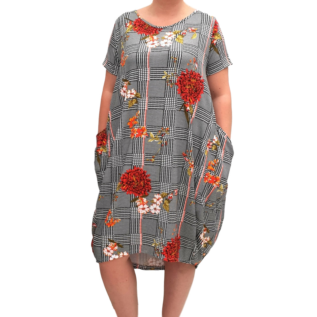 Jersey Baggy Summer Dress Tunic Short Sleeve Plus Size  [L1068_PATTERN18] - size 16 18 20 22 24 26 28 30 32 34 36 38 40 42 Wolfairy