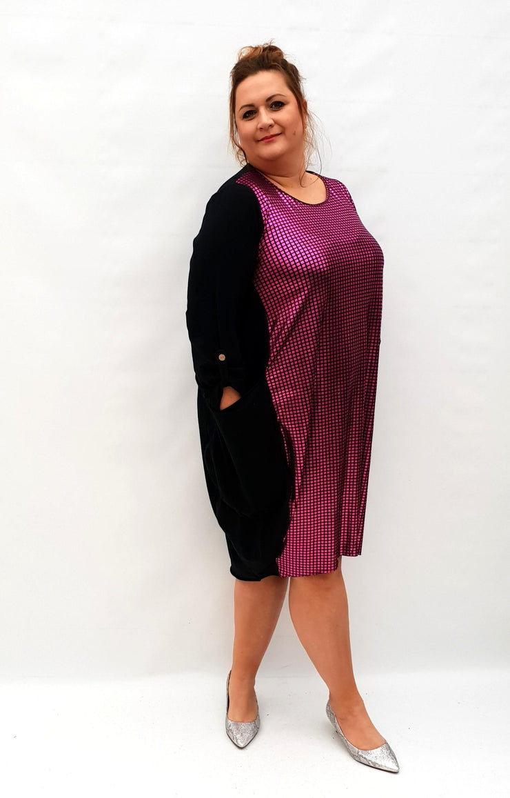 Dress Loose Baggy Long Sleeve Shiny Front Lagenlook Plus Size [L1032_PINK] - size 16 18 20 22 24 26 28 30 32 34 36 38 40 42 Wolfairy