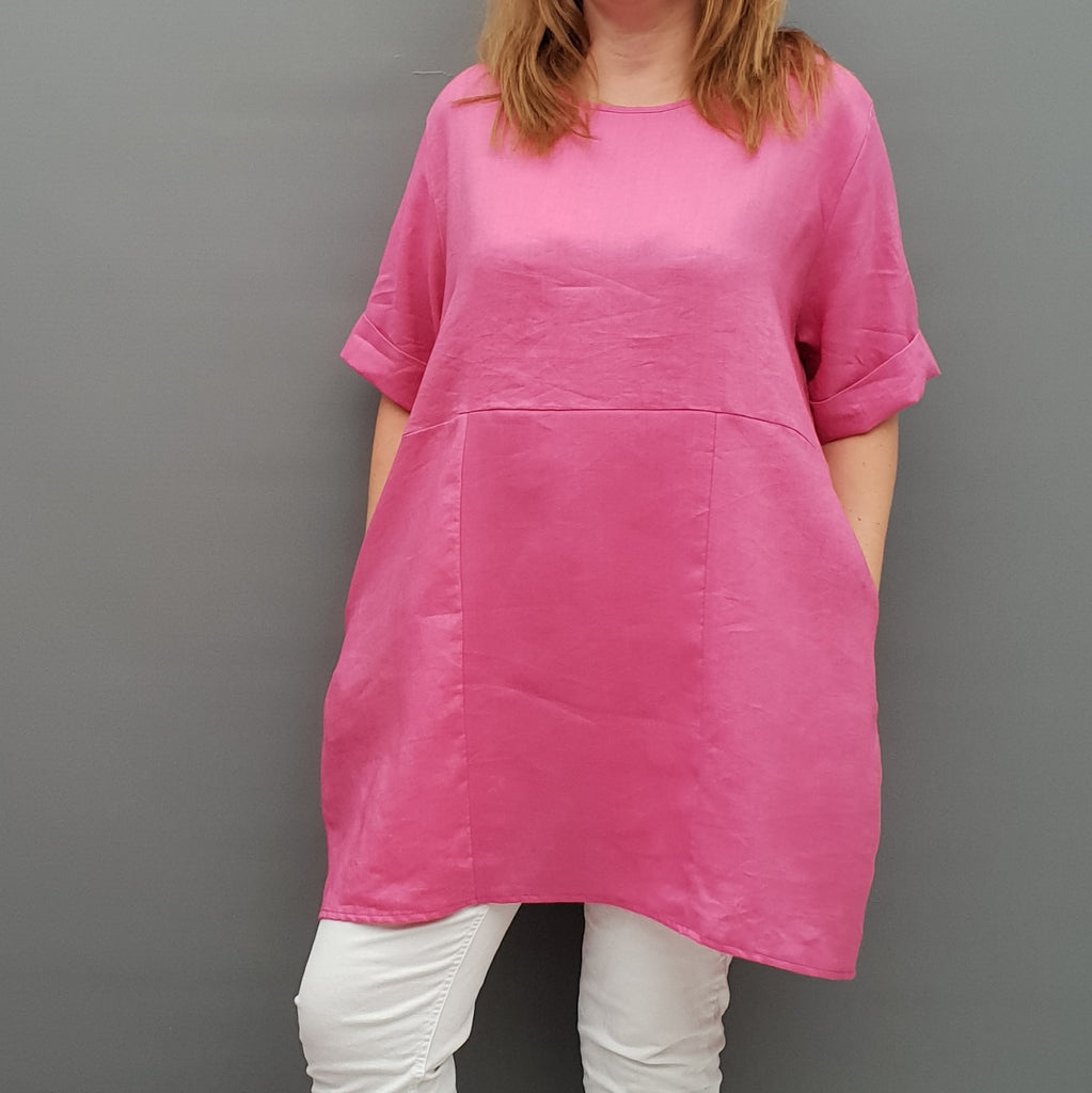 Linen tunic summer top loose lagenlook blouse short sleeve plus size [L1064_PINK2] - size 16 18 20 22 24 26 28 30 32 34 36 38 40 42 Wolfairy