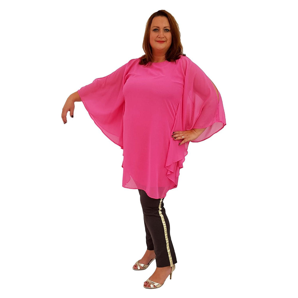 Airy Dress Loose Batwing Sleeve Lagenlook Plus Size [L468_PINK] - size 16 18 20 22 24 26 28 30 32 34 36 38 40 42 Wolfairy