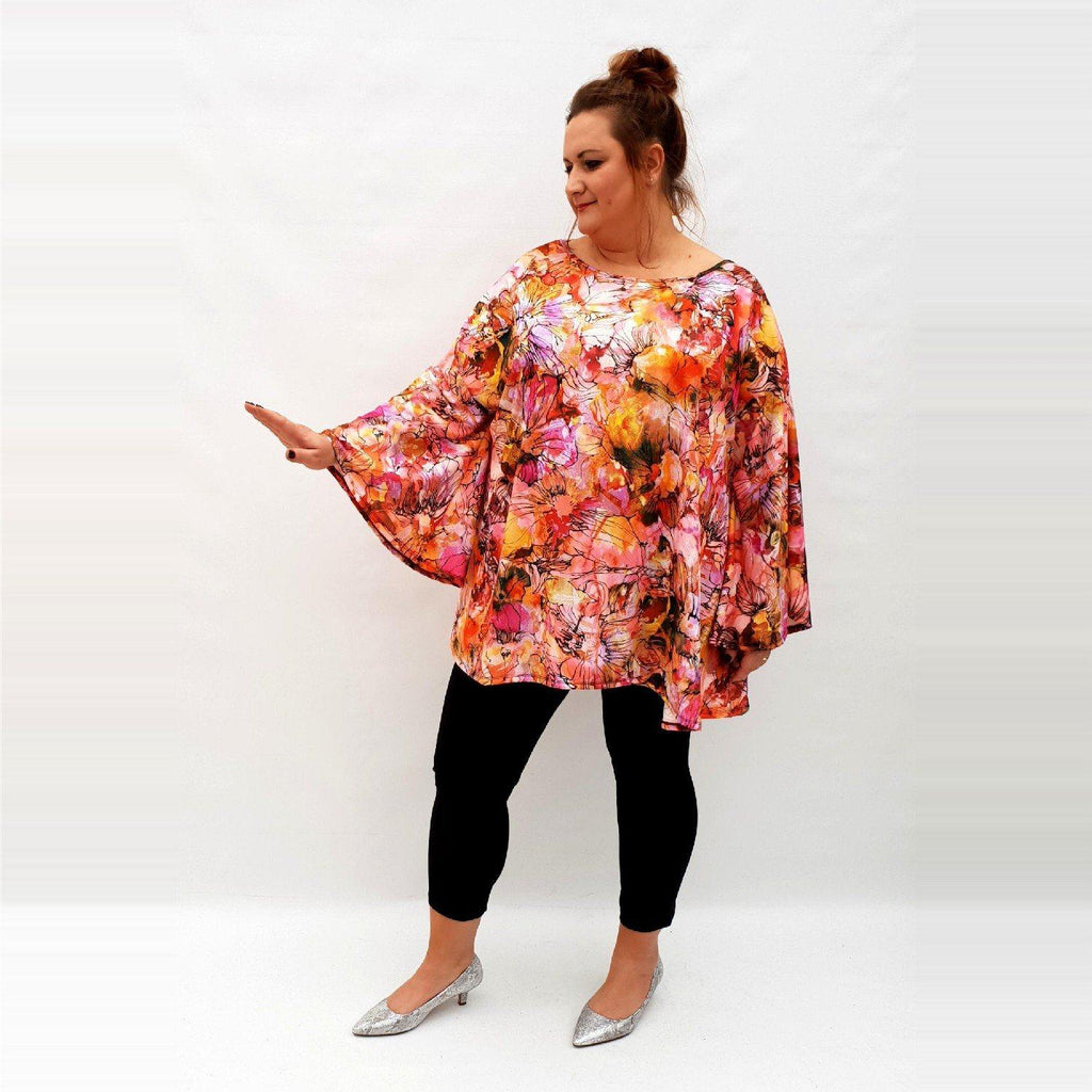 Top Tunic Loose Stretchy Long Sleeve Lagenlook Plus Size [L1027_PINK] - size 16 18 20 22 24 26 28 30 32 34 36 38 40 42 Wolfairy
