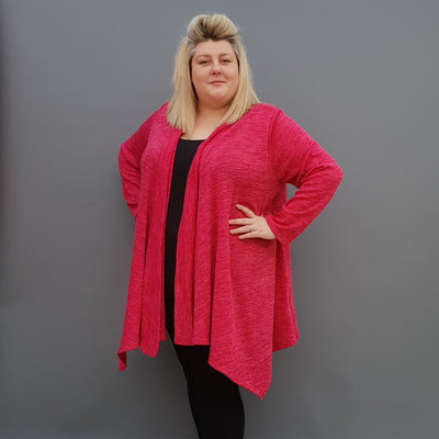 Womens plus size cardigan long sleeves open front handkerchief hem  [L1115_PINK] - size 16 18 20 22 24 26 28 30 32 34 36 38 40 42 Wolfairy