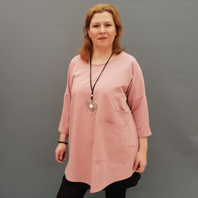 Women's Plus Size Jersey Plain Sweatshirt with Two Pockets [L1130_PINK]
