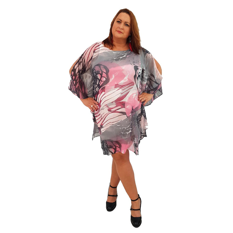 Airy Dress Loose Batwing Sleeve Lagenlook Plus Size [L467_PINK] - size 16 18 20 22 24 26 28 30 32 34 36 38 40 42 Wolfairy