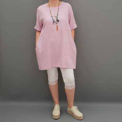 Linen Tunic Summer Top Loose Lagenlook Blouse Short Sleeve Plus Size   [L1064_PINK]