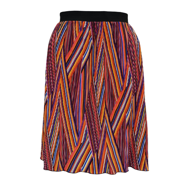 Geometric Print Pleated Midi Skirt With Elasticated Waistband Plus Size [L1059_PINK] - size 16 18 20 22 24 26 28 30 32 34 36 38 40 42 Wolfairy