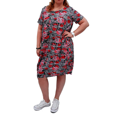 Dress Boho Floral Jersey Short Sleeve  Pockets Lagenlook Plus Size [L1054_PINK] - size 16 18 20 22 24 26 28 30 32 34 36 38 40 42 Wolfairy