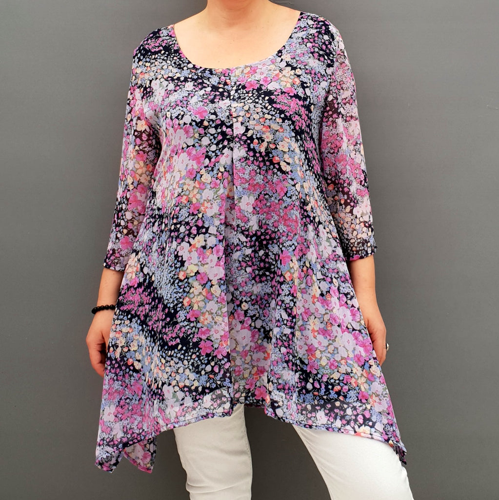Handkerchief Chiffon Floral Top Tunic [L1076_PINK] - size 16 18 20 22 24 26 28 30 32 34 36 38 40 42 Wolfairy