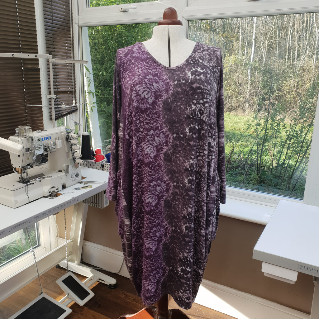 Plus Size Viscose Jersey Dress with Big Pockets Long Sleeve [L1211_PURPLE]