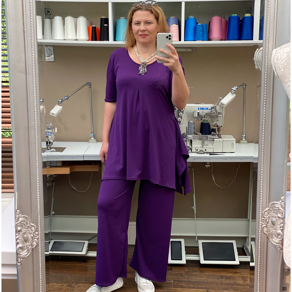 Handkerchief Stretchy Long Top Tunic Elbow Short Sleeve [L1151_PURPLE]