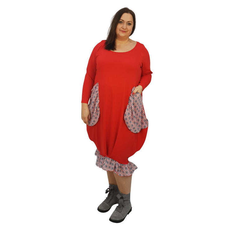 Asymmetric Dress Loose Chiffon Pockets And Frill Long Sleeve Lagenlook Plus Size [L1045_RED] dress Wolfairy