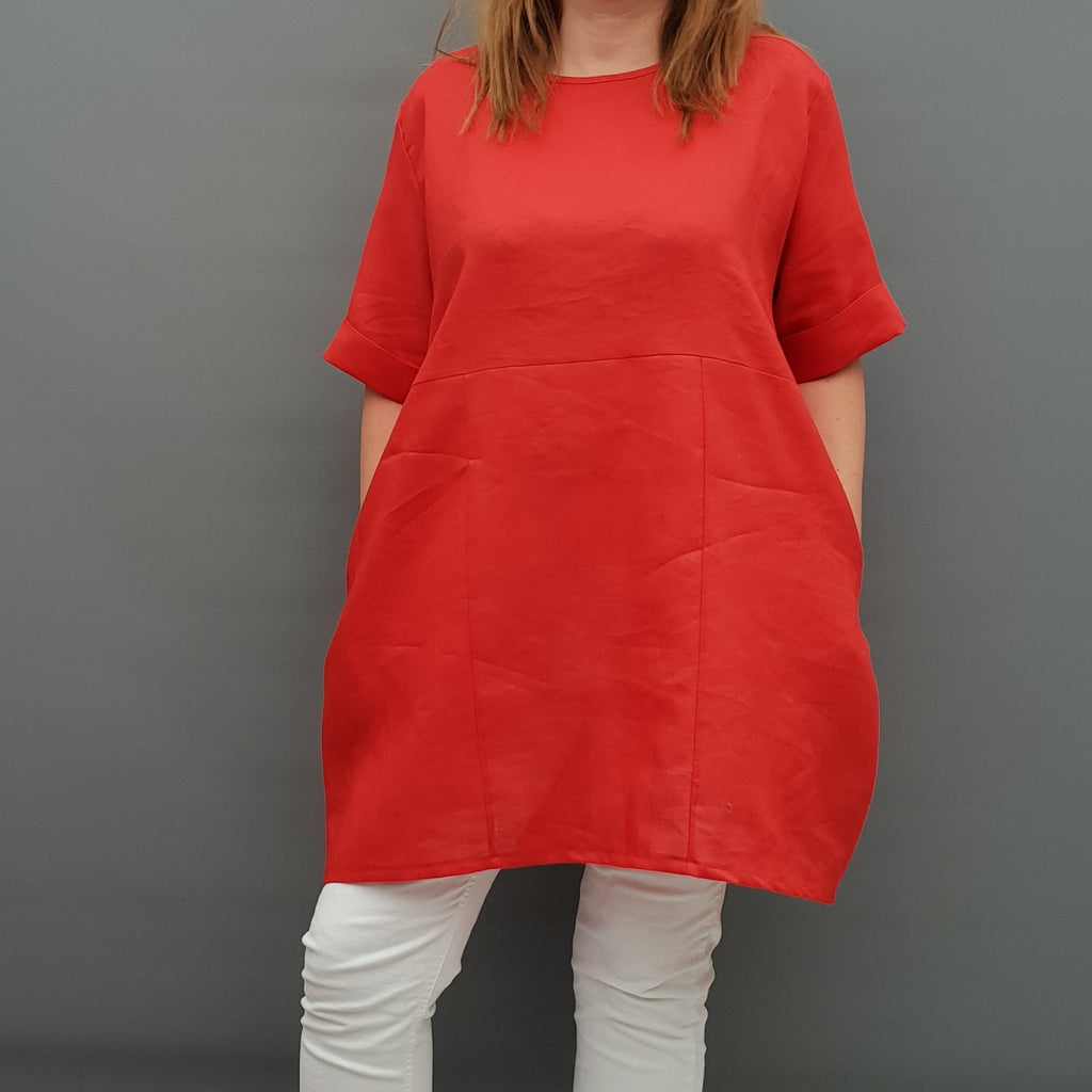Linen Tunic Summer Top Loose Lagenlook Blouse Short Sleeve Plus Size [L1064_RED2] - size 16 18 20 22 24 26 28 30 32 34 36 38 40 42 Wolfairy
