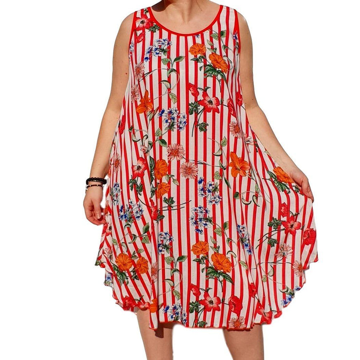 Dress  Sleeveless Boho Beach Holiday Floral Airy Lagenlook Plus Size [L1052_RED2] - size 16 18 20 22 24 26 28 30 32 34 36 38 40 42 Wolfairy