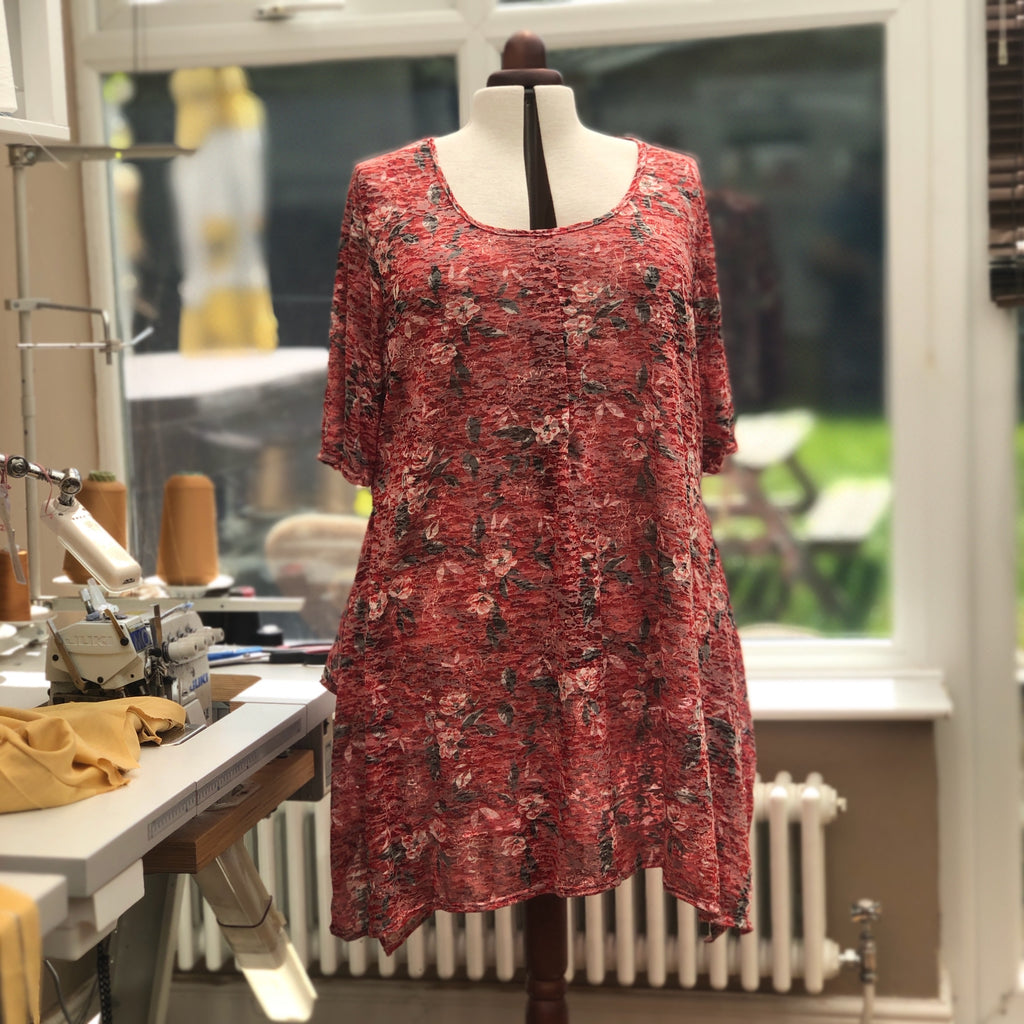 Handkerchief Printed Stretchy Long Top Tunic Longer Short Sleeve [L1138_RED2]