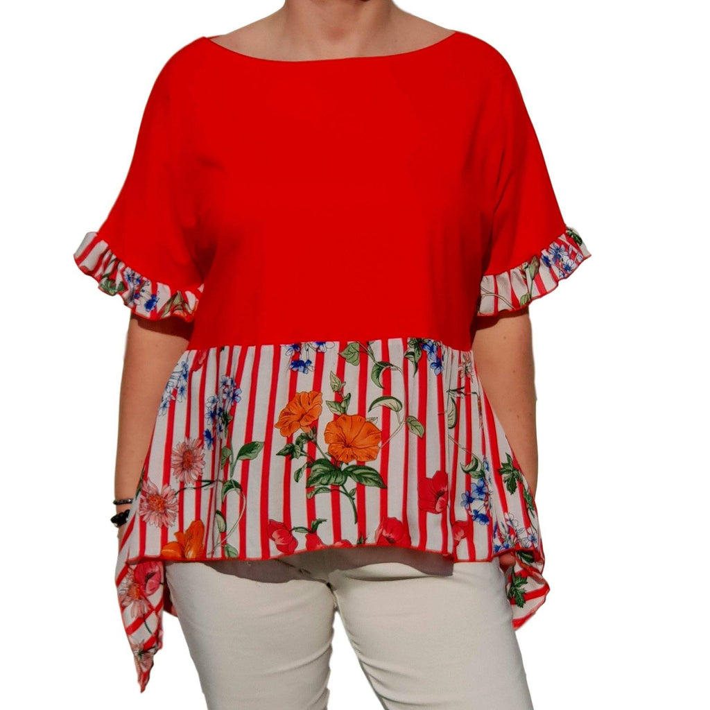 Floral Striped Top  Frill Loose Baggy Short Sleeve Beach Holiday Airy Lagenlook Plus Size [L1057_RED2] - size 16 18 20 22 24 26 28 30 32 34 36 38 40 42 Wolfairy