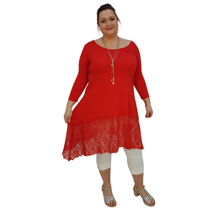 Tunic 3/4 Sleeve Swingy Sidetail Hem Lace Frill Stretchy Jersey Lagenlook Plus Size [L1020_RED] - size 16 18 20 22 24 26 28 30 32 34 36 38 40 42 Wolfairy