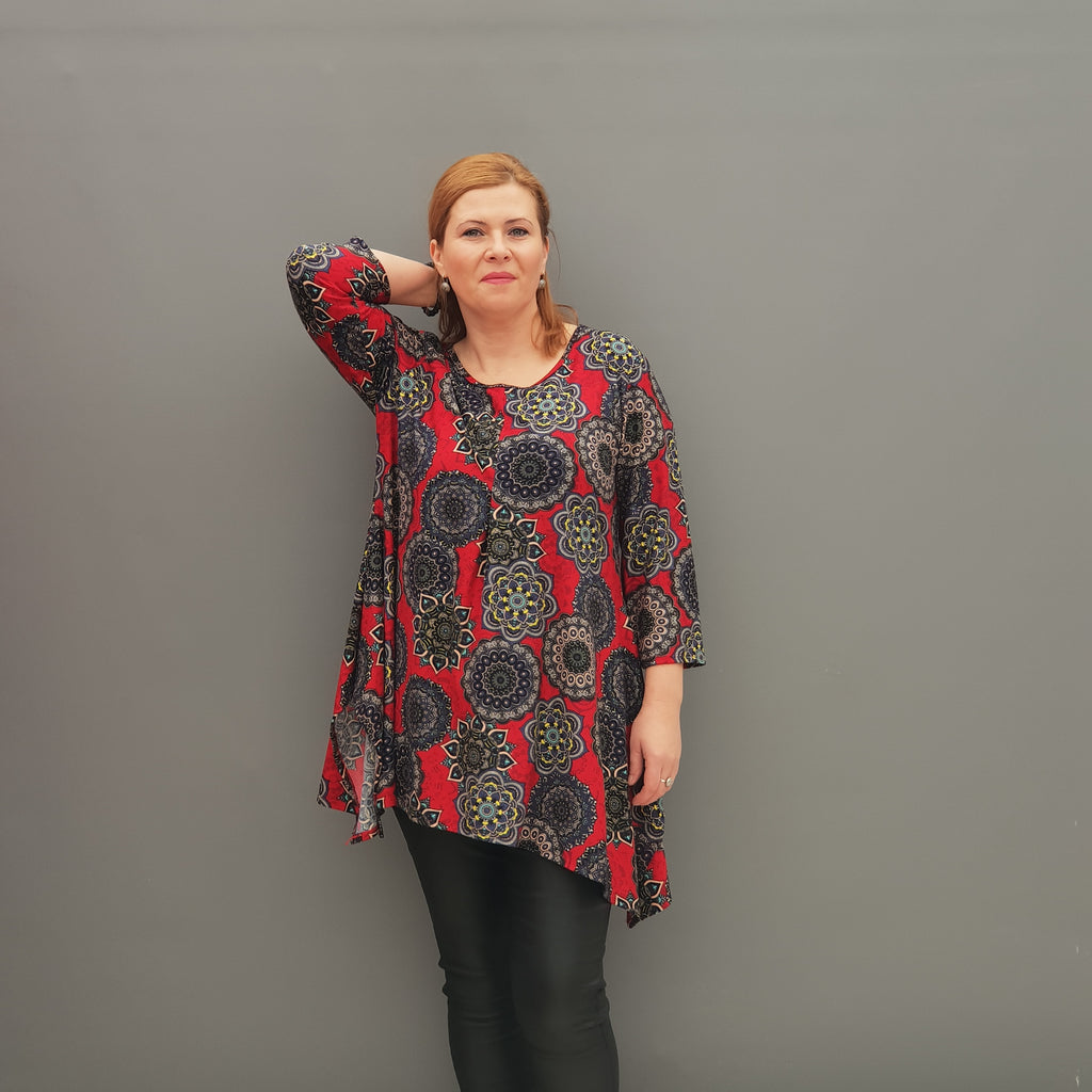Handkerchief Long Top Tunic 3/4 sleeve [L1114_RED] - size 16 18 20 22 24 26 28 30 32 34 36 38 40 42 Wolfairy