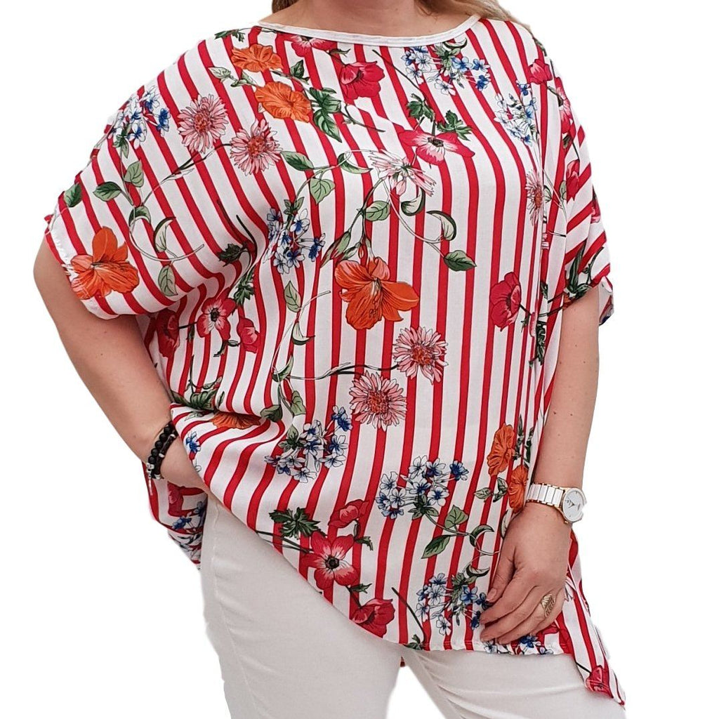 Striped Floral Top  Tunic  Loose Short Sleeve Lagenlook Plus Size [L1051_RED] - size 16 18 20 22 24 26 28 30 32 34 36 38 40 42 Wolfairy