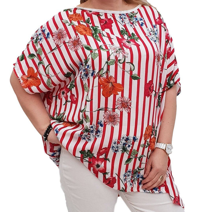 Striped Floral Top Tunic Loose Short Sleeve Lagenlook Plus Size [L1051_RED] top Wolfairy