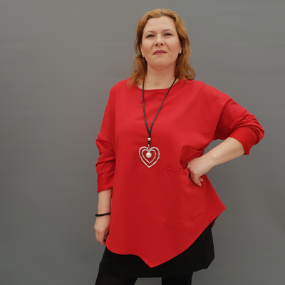 Women's Plus Size Jersey Plain Sweatshirt with Two Pockets [L1130_RED]