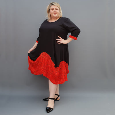 Plus Size Swing Jersey Long Top Dress Asymmetric Embellished Hem [L1118_RED] - size 16 18 20 22 24 26 28 30 32 34 36 38 40 42 Wolfairy