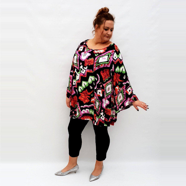 Top Tunic Loose Stretchy Long Sleeve Lagenlook Plus Size [L1029_RED] - size 16 18 20 22 24 26 28 30 32 34 36 38 40 42 Wolfairy