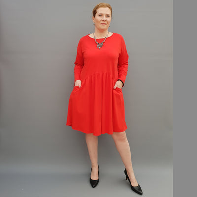 Plus Size Jersey Swing Dress Long Sleeve Front Pockets Widened Back Cotton [L1105_RED]