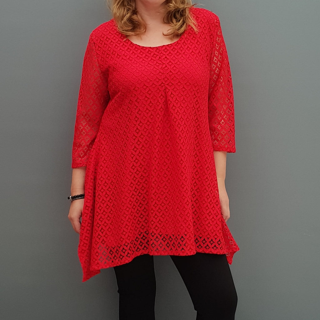 Plus size handkerchief crochet lace top blouse with lining [L1088_RED] - size 16 18 20 22 24 26 28 30 32 34 36 38 40 42 Wolfairy