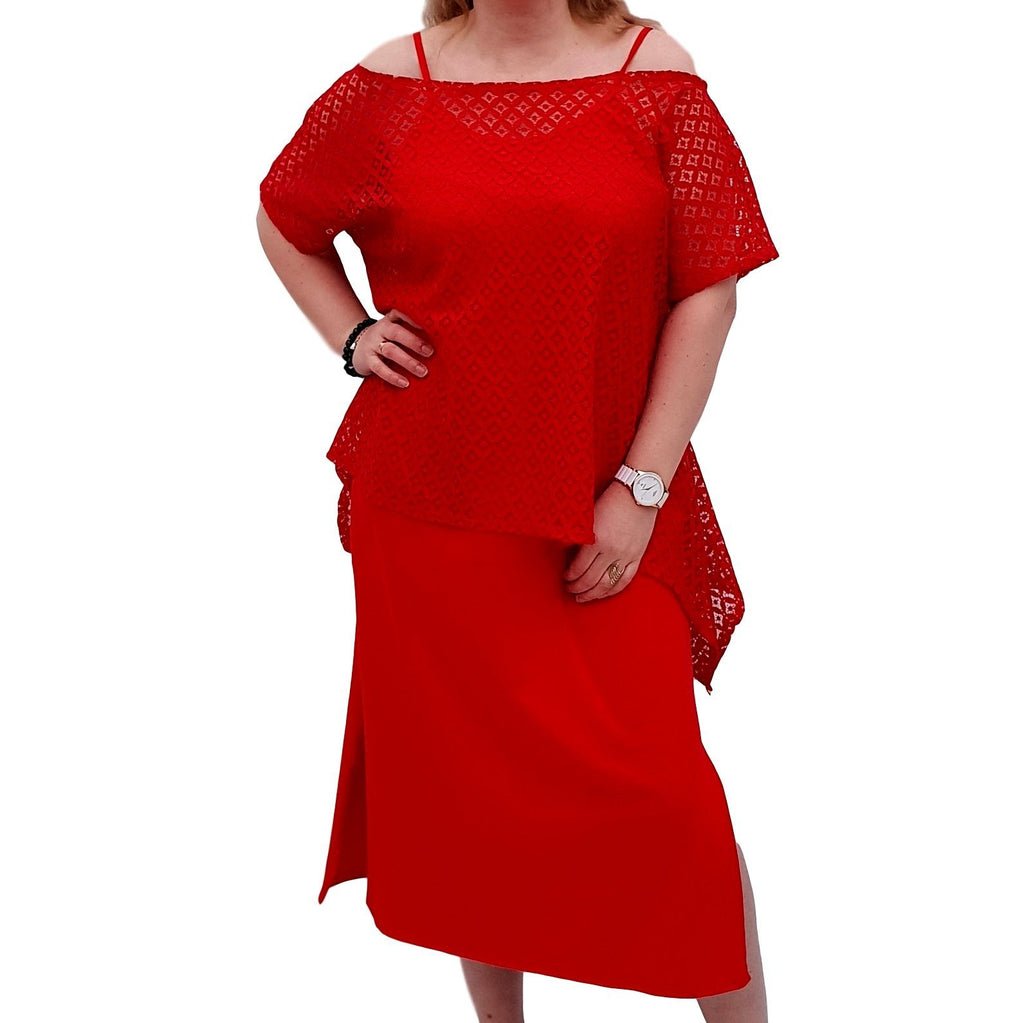 Semi-fitted Bodycon Jersey Maxi Dress With Lace Top - 2 Pieces Set Lagenlook Plus Size [L1053_RED] - size 16 18 20 22 24 26 28 30 32 34 36 38 40 42 Wolfairy