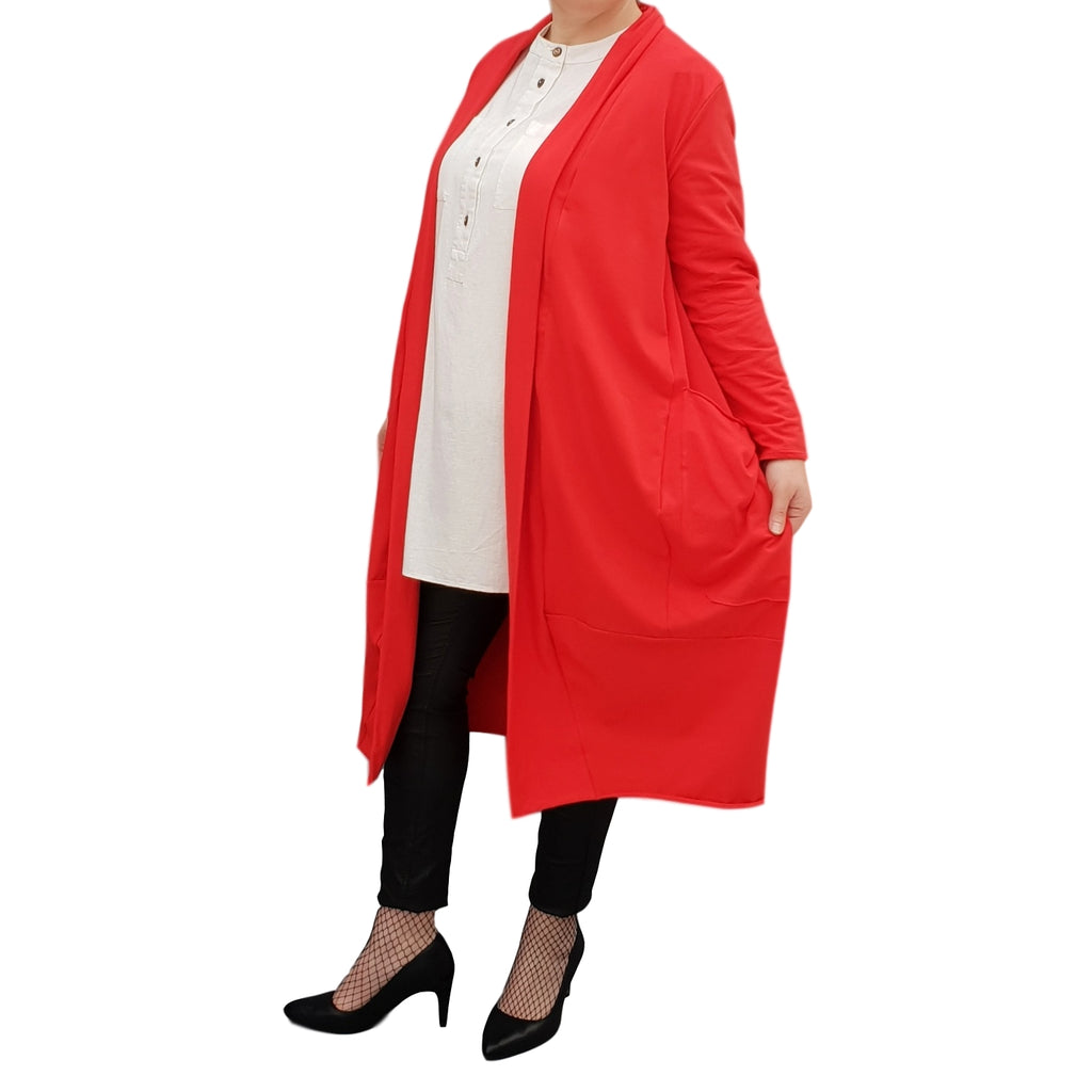 Women's Plus Size Long Cardigan Coat with Pockets [L1129_RED]