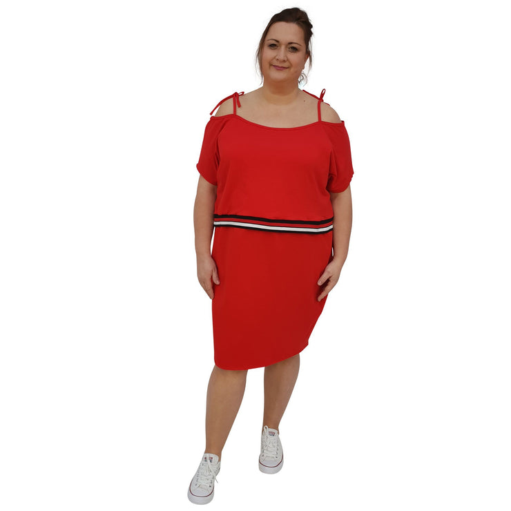 Jersey Sports Set - Top & Skirt With Stripe Plus Size [L1049_RED] dress Wolfairy
