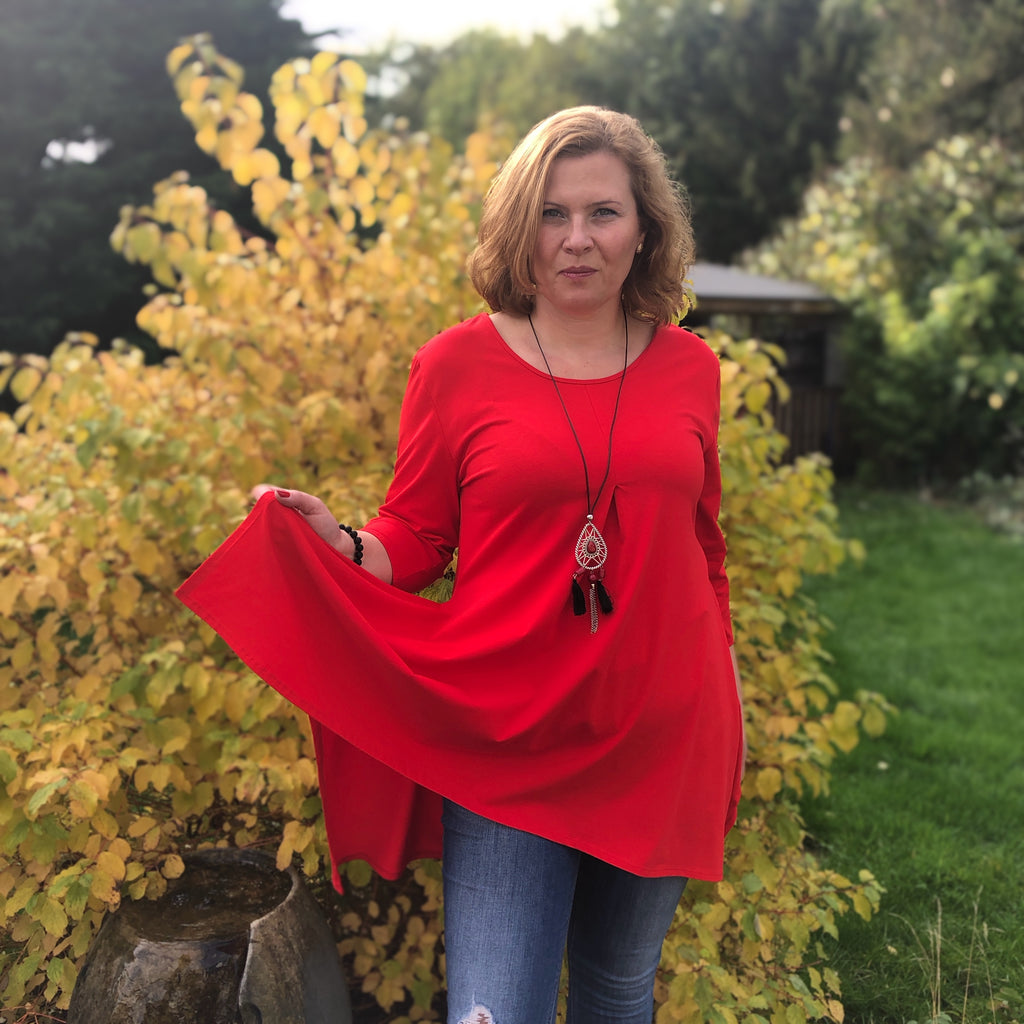 Plus Size Handkerchief Longer Plain Top Tunic 3/4 sleeve Cotton [L1104_RED] - size 16 18 20 22 24 26 28 30 32 34 36 38 40 42 Wolfairy