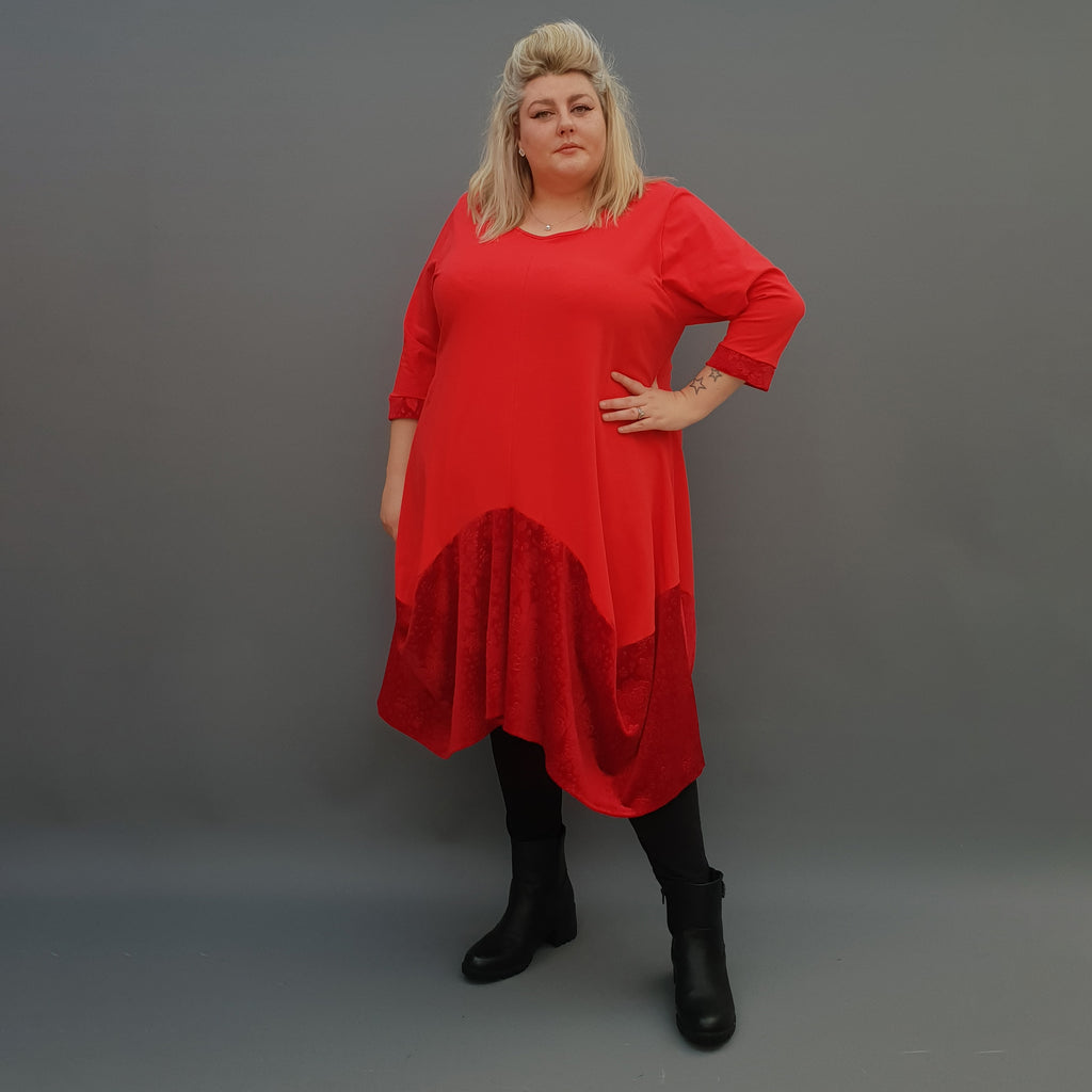 Plus Size Swing Jersey Cotton Long Top Dress Asymmetric Embellished Velvet Hem [L1121_RED] - size 16 18 20 22 24 26 28 30 32 34 36 38 40 42 Wolfairy