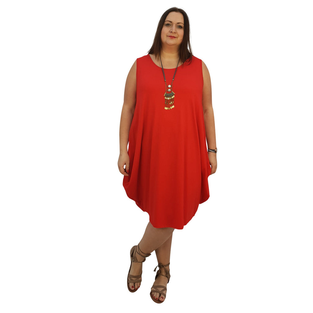 Midi Dress For Beach  Holiday Frill Floral Aztec Tribal  Plus Size [L1047_RED] - size 16 18 20 22 24 26 28 30 32 34 36 38 40 42 Wolfairy