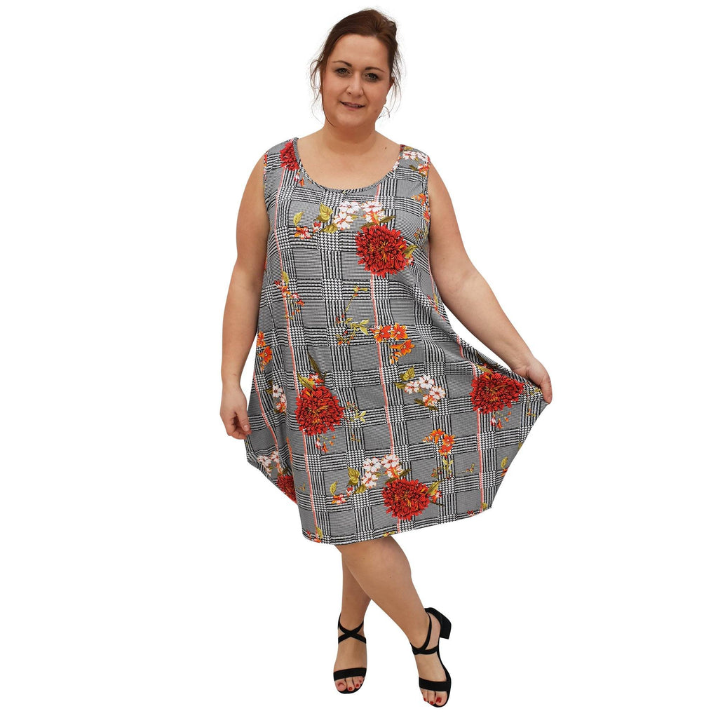 Dress  Beach Holiday Loose Baggy Sleeveless Jersey Lagenlook Plus Size [L1055_RED] - size 16 18 20 22 24 26 28 30 32 34 36 38 40 42 Wolfairy