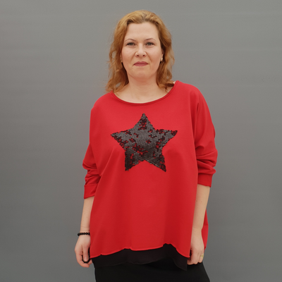 Women's Plus Size Jersey Plain Sweatshirt with Star [L1131_RED]