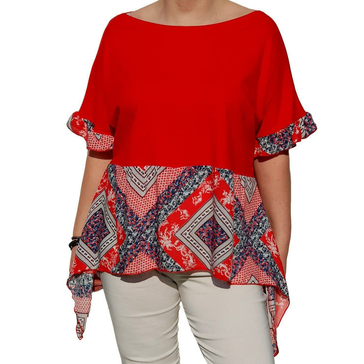 Top  Frill Loose Baggy Short Sleeve Beach Holiday Airy Lagenlook Plus Size [L1057_RED] - size 16 18 20 22 24 26 28 30 32 34 36 38 40 42 Wolfairy