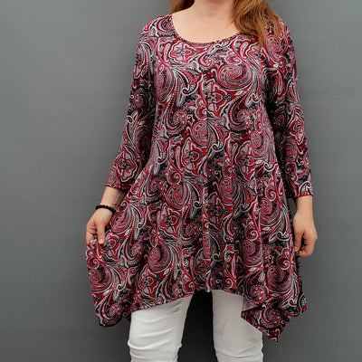 Handkerchief Paisley Stretchy Long Top Tunic 3/4 Sleeve [L1078_RED] - size 16 18 20 22 24 26 28 30 32 34 36 38 40 42 Wolfairy