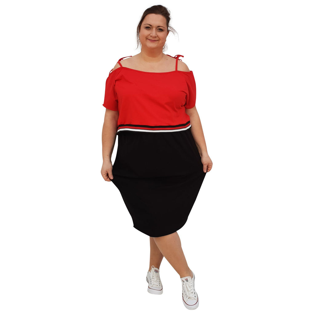 Jersey Sports Set - Top & Skirt With Stripe Plus Size [L1049_REDBLACK] - size 16 18 20 22 24 26 28 30 32 34 36 38 40 42 Wolfairy
