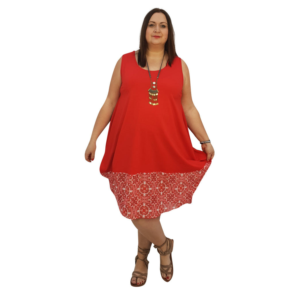 Midi Dress For Beach  Holiday Frill Floral Aztec Tribal Plus Size [L1047_REDCHIFFON] - size 16 18 20 22 24 26 28 30 32 34 36 38 40 42 Wolfairy